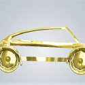 3D Baby Art Car in Metal Gold Plated