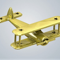 3D Baby Art classic air plane in Metal Gold Plated