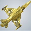 3D Baby Art Fighter jet in Metal Gold Plated