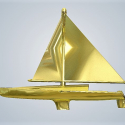 3D Baby Art Sail Boat in Metal Gold Plated