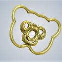 3D Baby Art Teddy Bear Metal Gold Plated
