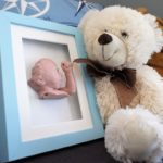 Blue Shadow box frame with statue 15 x 20 Bear