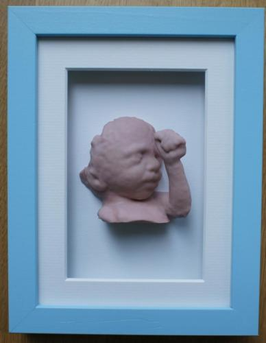 Blue Shadow box frame with statue 15 x 20