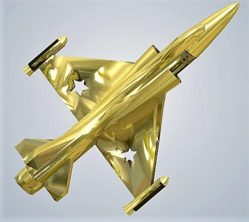 Fighter jet metal gold plated