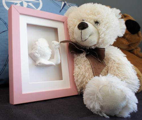 Pink Shadow box frame with statue 15 x 20 Bear