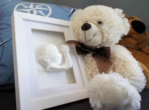 White Shadow box frame with White statue 15 x 20 Bear